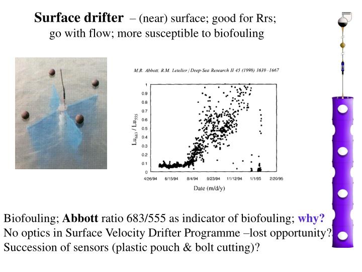 Surface drifter near surface good for rrs go with flow more susceptible to biofouling