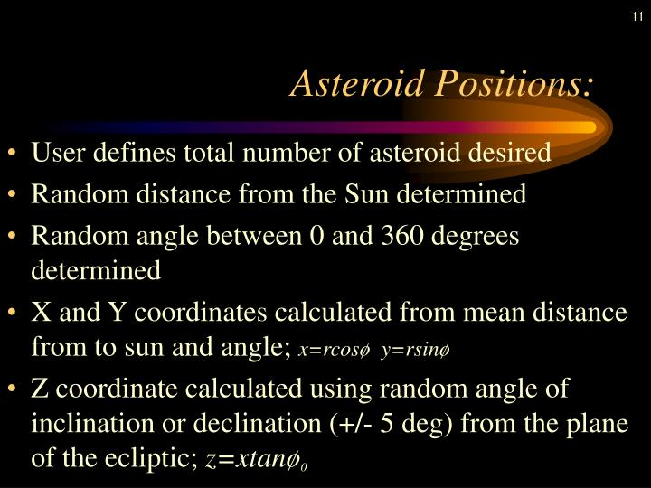 Asteroid Positions: