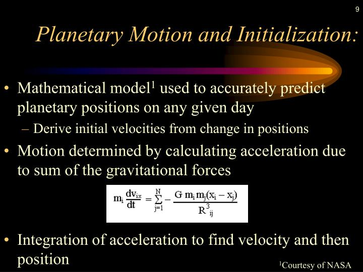Planetary Motion and Initialization: