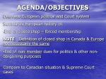 agenda objectives