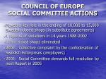 council of europe social committee actions