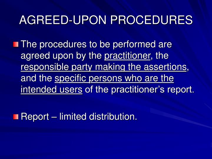 AGREED-UPON PROCEDURES