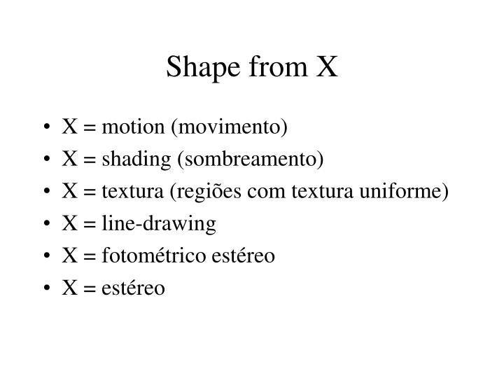 Shape from X