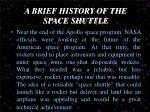 a brief history of the space shuttle
