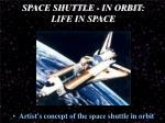 space shuttle in orbit life in space1