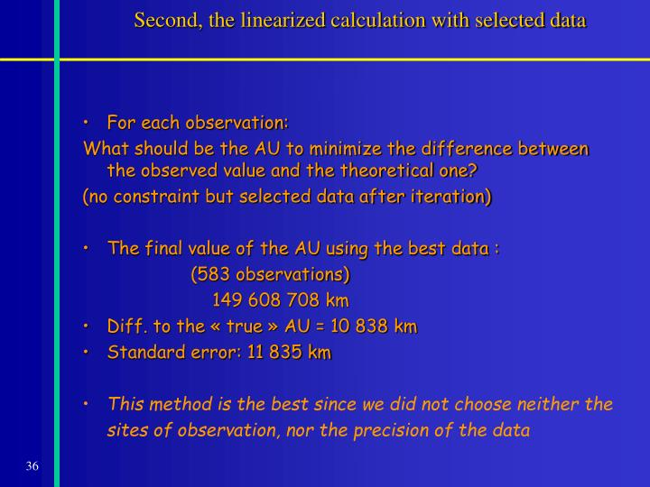 Second, the linearized calculation with selected data