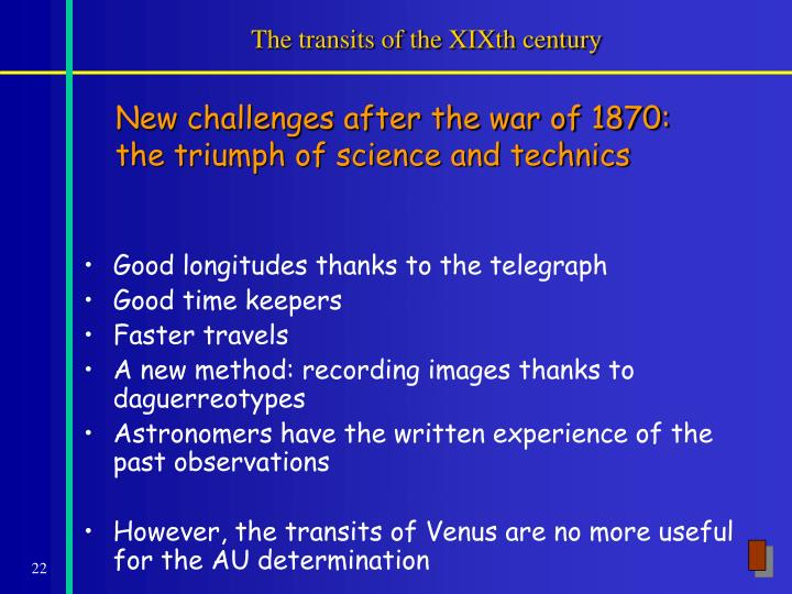 The transits of the XIXth century