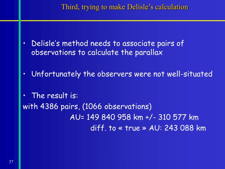 Third, trying to make Delisle's calculation