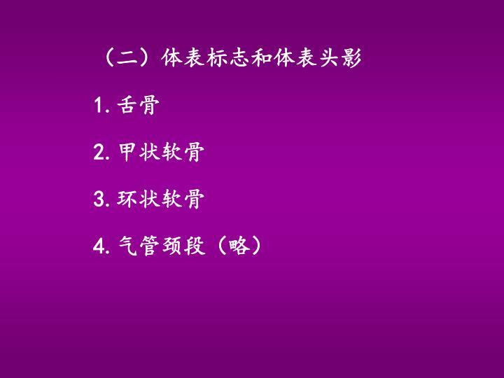 (二)体表标志和体表头影