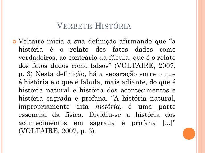 Verbete História