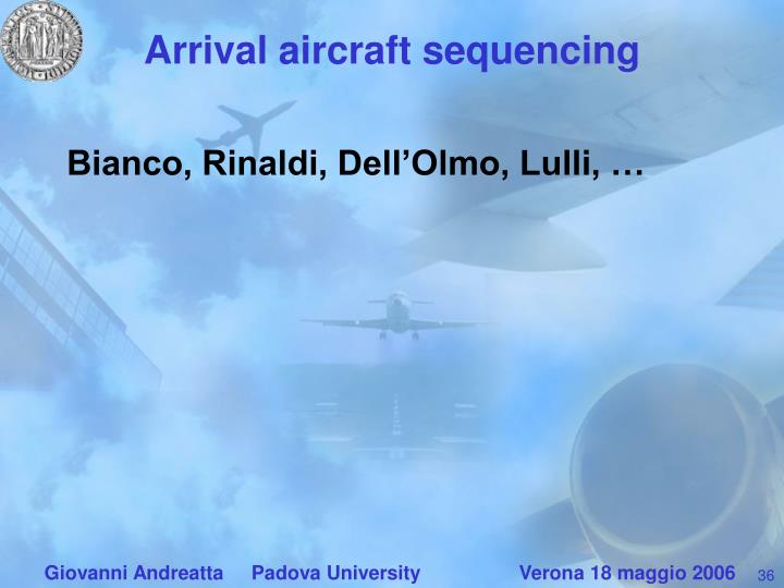 Arrival aircraft sequencing