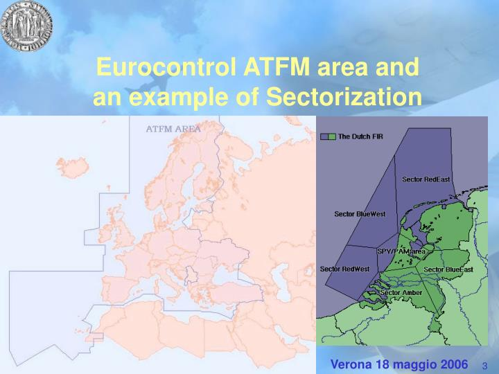 Eurocontrol atfm area and an example of sectorization