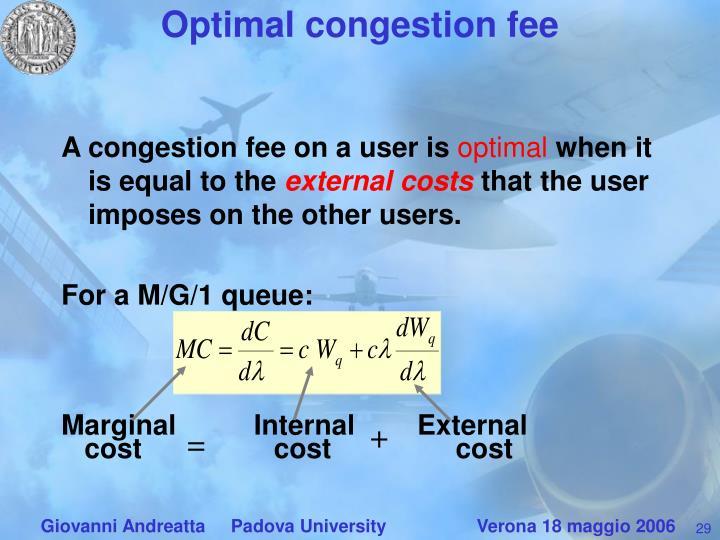 Optimal congestion fee