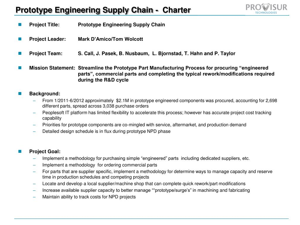 Ppt Prototype Engineering Supply Chain Charter Point