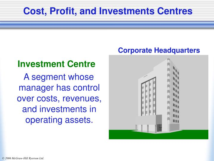 cost centres profit centres investment centres Cost centre (business) this when the manager and employees of the cost center are not accountable for the profitability and investment decisions of the profit.