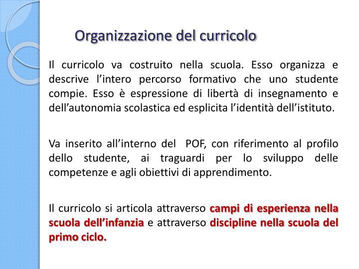 Organizzazione del curricolo