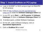 step 1 install endnote on pc laptop
