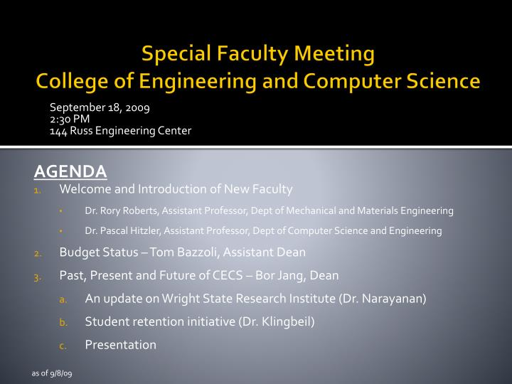 Special faculty meeting college of engineering and computer science