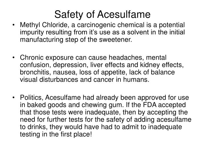 Safety of Acesulfame