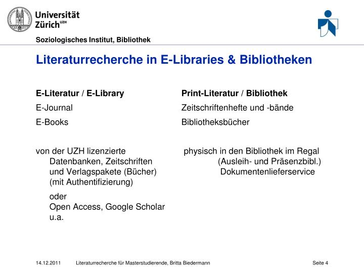 Literaturrecherche in E-Libraries & Bibliotheken