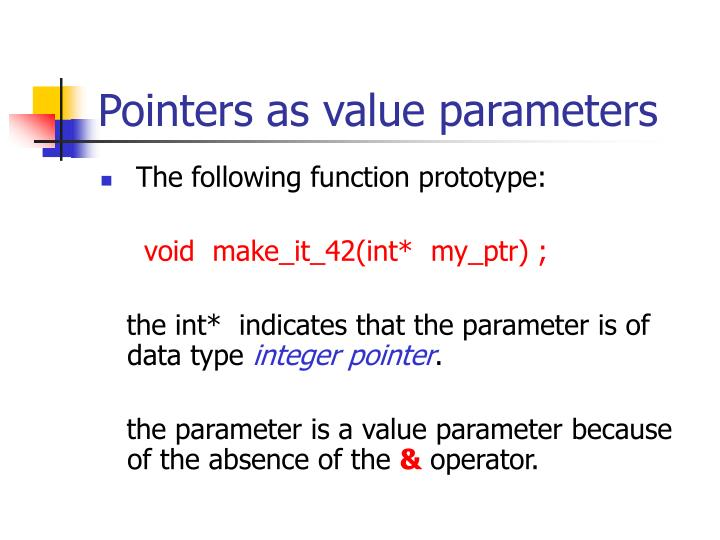 Pointers as value parameters