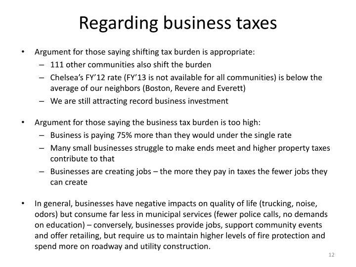Regarding business taxes