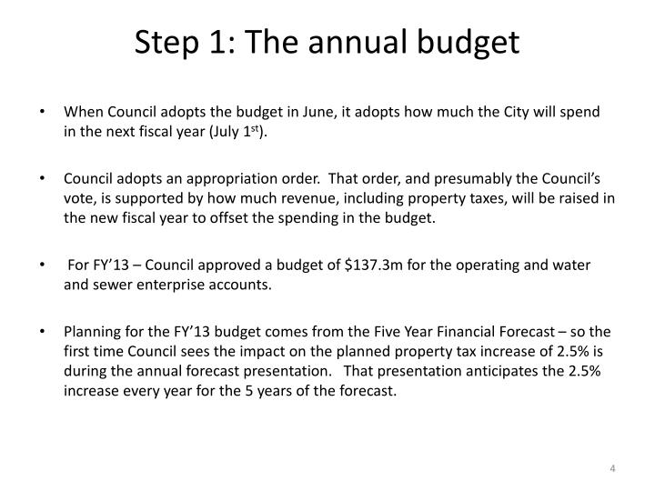 Step 1: The annual budget