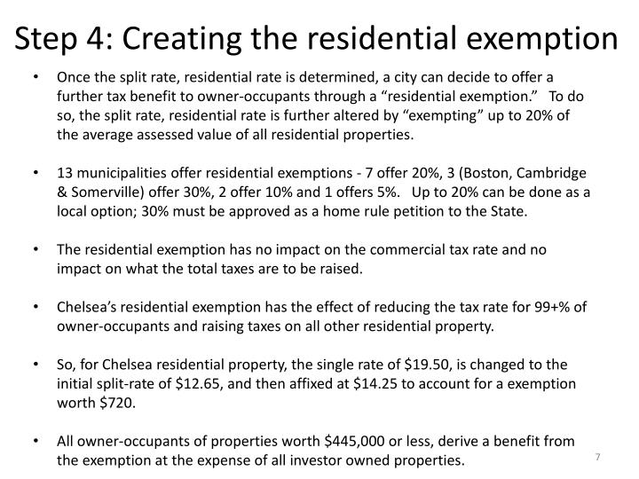 Step 4: Creating the residential exemption