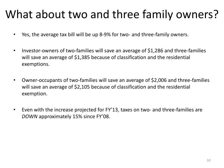 What about two and three family owners?