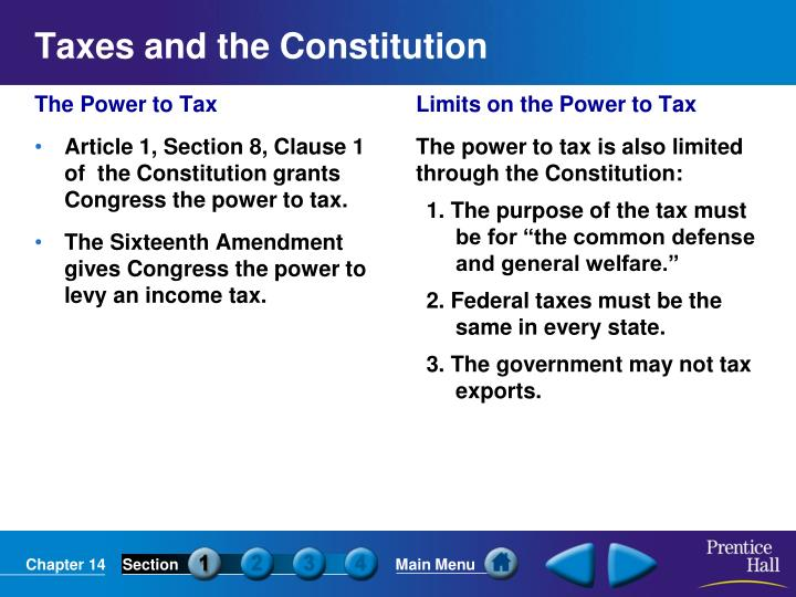Taxes and the constitution