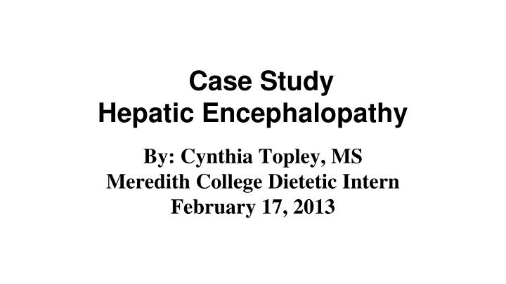 case study hepatic encephalopathy n.