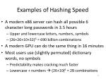 examples of hashing speed