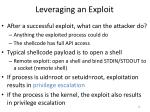 leveraging an exploit
