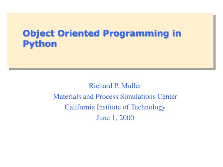 object oriented programming in python n.