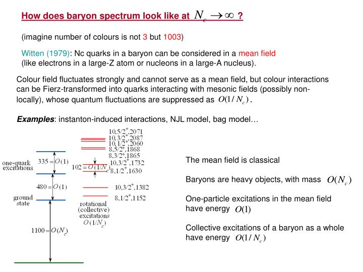 How does baryon spectrum look like at                   ?