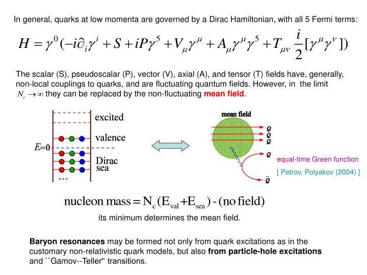 In general, quarks at low momenta are governed by a Dirac Hamiltonian, with all 5 Fermi terms: