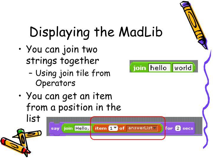 Displaying the MadLib