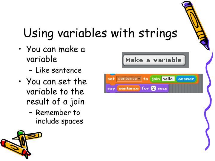 Using variables with strings