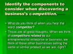 identify the components to consider when discovering a business s c ompetition