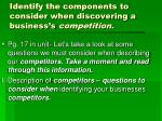 identify the components to consider when discovering a business s competition