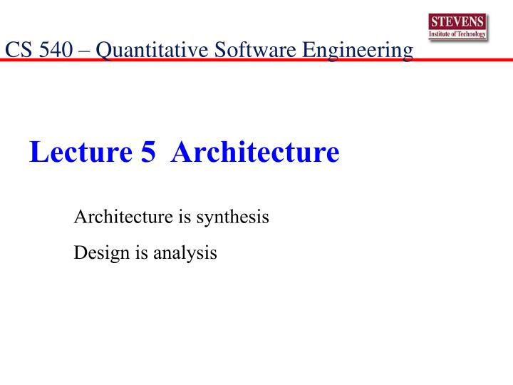 lecture 5 architecture n.
