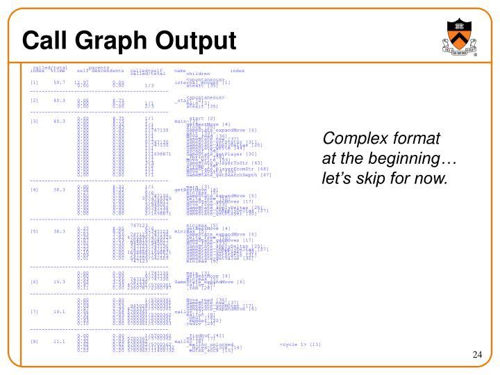 Call Graph Output