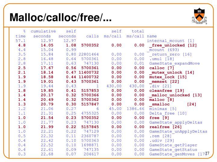 Malloc/calloc/free/...