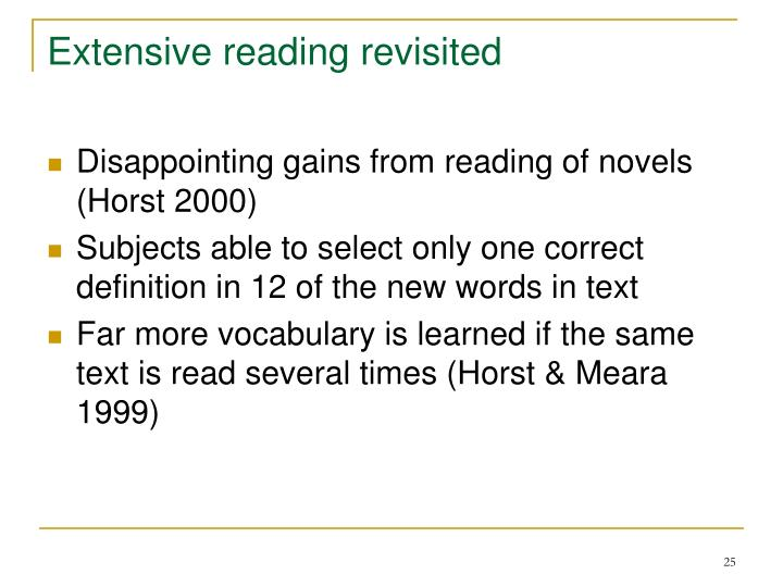 Extensive reading revisited