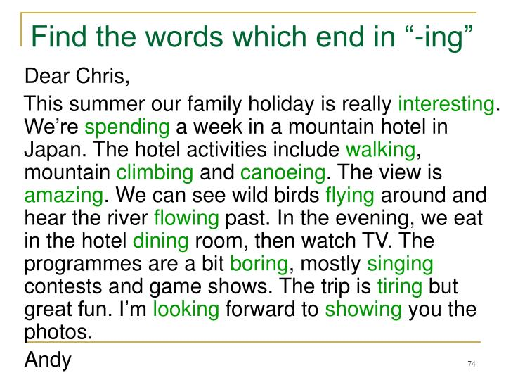 """Find the words which end in """"-ing"""""""