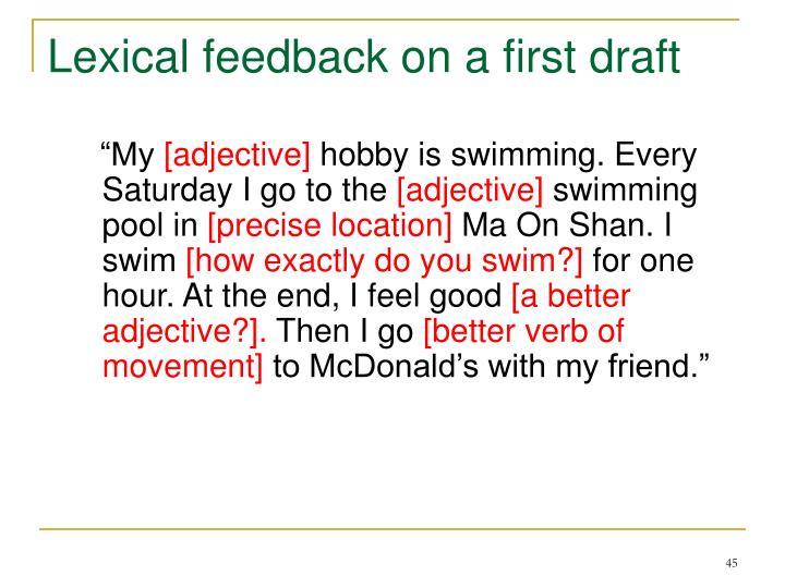 Lexical feedback on a first draft