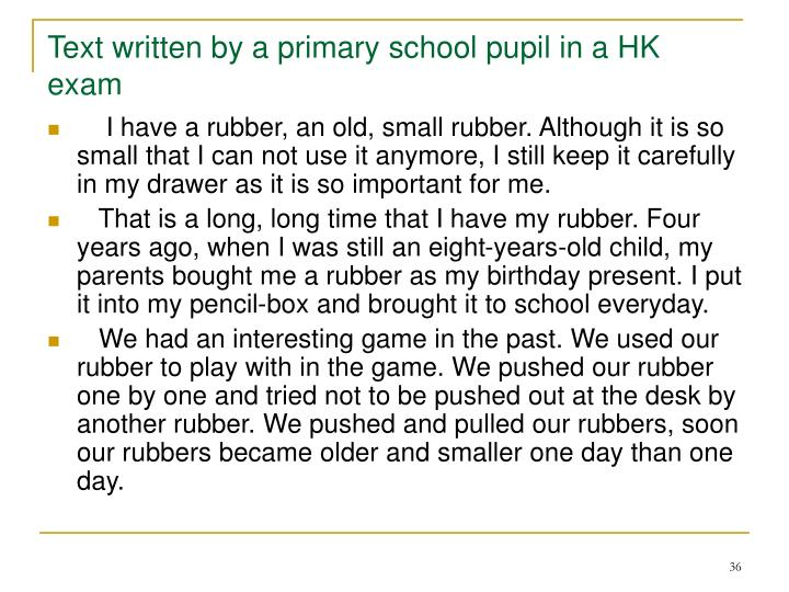 Text written by a primary school pupil in a HK exam