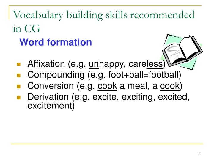 Vocabulary building skills recommended in CG