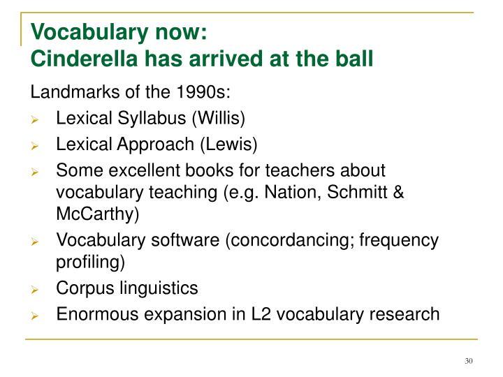 Vocabulary now: