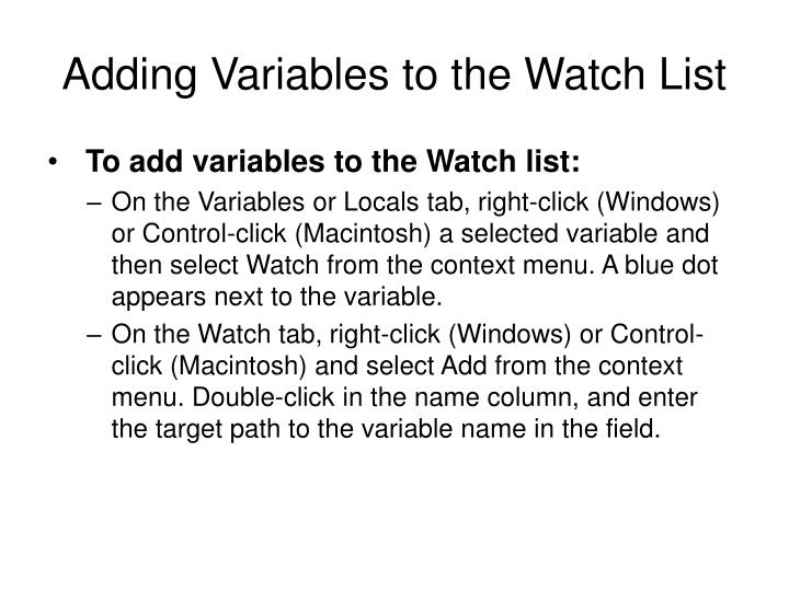 Adding Variables to the Watch List